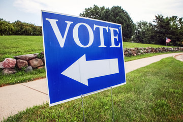 Vote sign with arrow