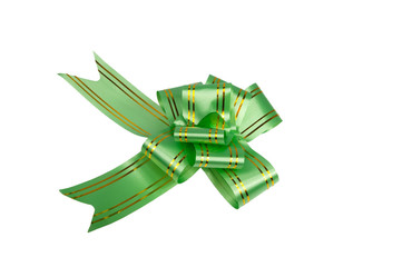 Green bow isolated on the white for decor or gift