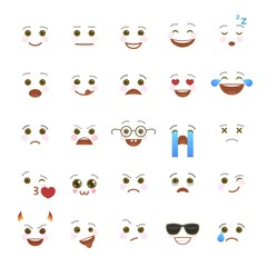 Comic emoji symbols for internet chatting. Smiley faces with facial expressions on white background. Funny emoticons isolated vector set. Cute social communication. Mood expression elements.