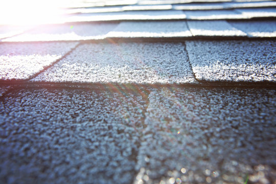 Composite roofing material with frost in the morning