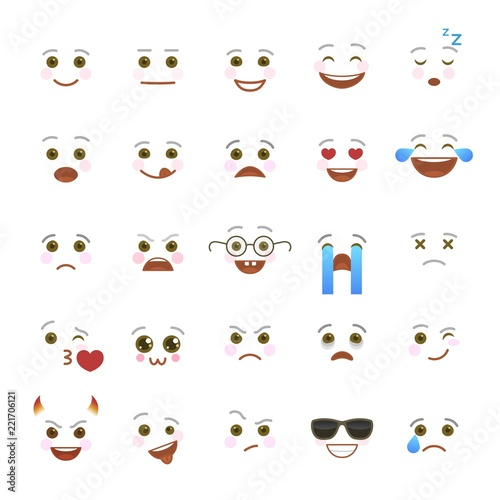 Comic emoji symbols for internet chatting  Smiley faces with