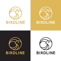 Bird line vector logo template