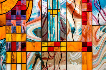 image of a multicolored stained glass window with an irregular block pattern, an abstract pattern on the glass, a trend, a multicolored geometric background