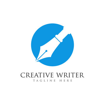 pen writer logo design template
