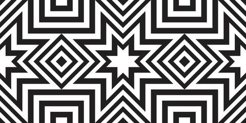 Seamless geometric pattern with striped black white background. Vector illusive background. Futuristic vibrant design.