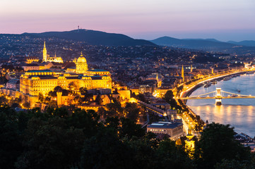 Top view of Buda castle in Budapest at night, Hungary