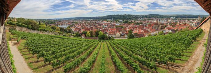 180° Panorama-Aussicht von der Esslinger Burg auf Esslingen und das Neckartal