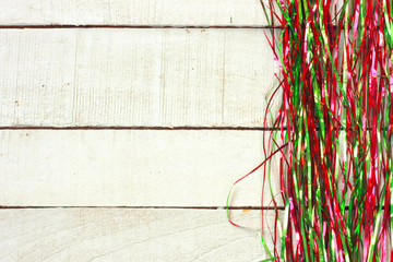 New Year, Christmas background, green and red tinsel border