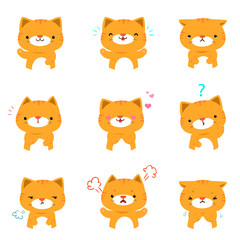 Cat with different emotions cartoon vector.