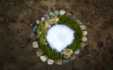 Stone and moss Nature Newborn photography digital background prop.