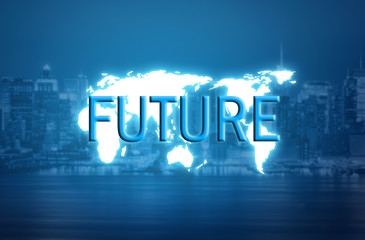 Future text over world map hologram and blurred city background