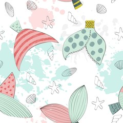 Vector seamless pattern with a mermaids tail and seashells