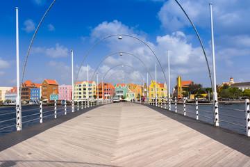 Fototapete - Floating pantoon bridge in Willemstad, Curacao