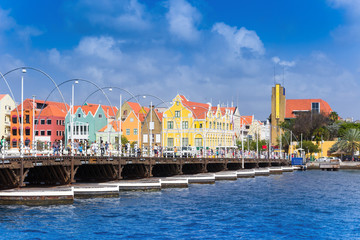 Wall Mural - view at pantoon bridge and downtown in Willemstad, Curacao