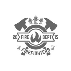 Fire department monochrome vector emblem