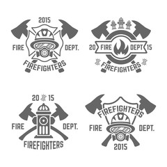 Fire department monochrome vector emblems