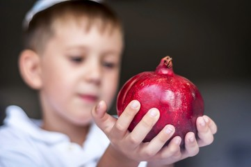 Cute Caucasian kid holding a ripe pomegranate fruit in his hands. Rosh Hashanah, Jewish New Year holiday concept image.