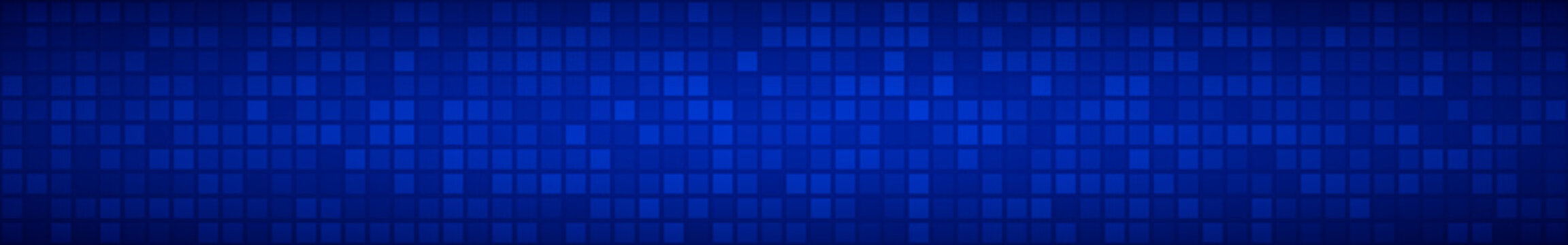 Abstract horizontal banner or background of small squares or pixels in blue colors.