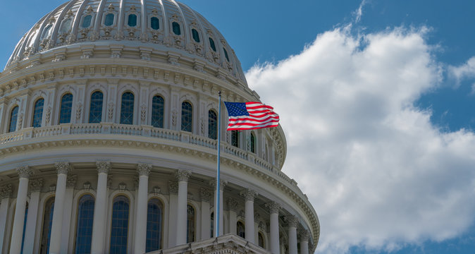 US Flag Capitol State Building Washington DC, USA