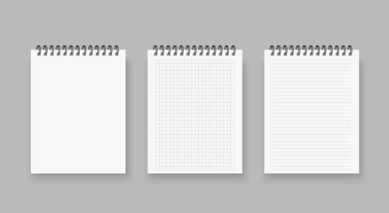 Blank of realistic notebooks lined and dots paper page isolated on transparent background. lean spiral notepad blank mockup template. Vector illustration.
