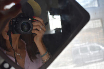 autofoto en un espejo pequeño antiguo