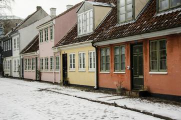 Old houses in Hans Christian Andersens quarter, Odense in Denmark