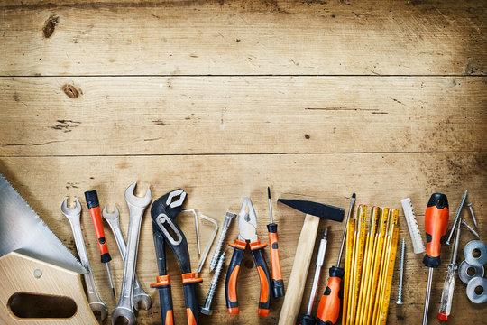 Bottom border of assorted hand tools