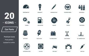 Car parts icons set. Premium quality symbol collection. Car parts icon set simple elements. Ready to use in web design, apps, software, print.