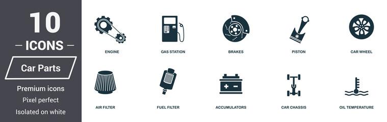 Car parts icons set. Premium quality symbol collection.