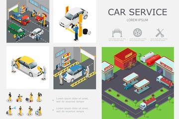 Isometric Car Service Infographic Template