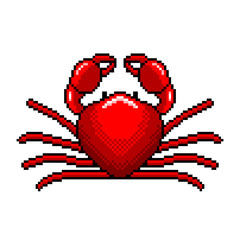 Pixel art red crab detailed isolated vector