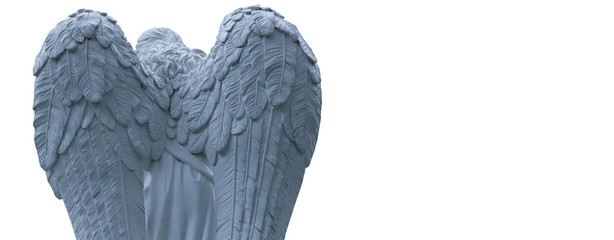 Fototapete - Ancient statue of angel of death on white background as a symbol of the end of life
