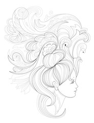 Black and white page for coloring. Fantasy drawing of woman face with fashionable hairstyle. Advertising poster for hairdresser. Worksheet for children and adults. Vector image.