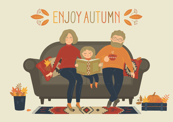Enjoy Autumn. Happy family sit on sofa at home. Cozy home.  Autumn decor. Original vector illustration.