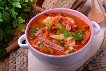 Rassolnik soup with pickled cucumbers. Russian cuisine meal