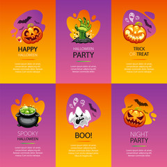 Halloween Greeting Cards Colorful Set