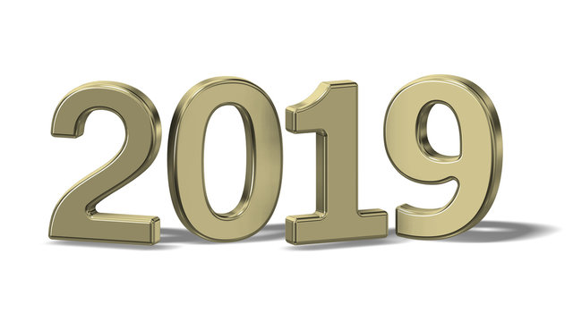Illustration of gold 2019 New Year Numbers on white background.