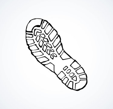Footprints of shoes. Vector drawing