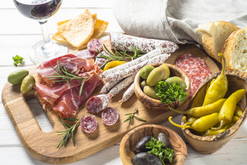 Antipasto - sliced meat, ham, salami, olives