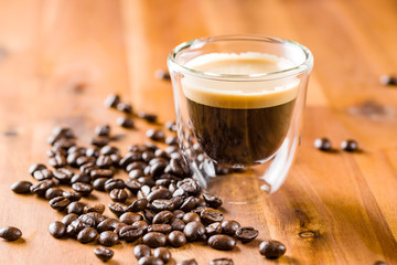 Espresso and coffee beans.