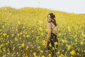Woman in the flower field