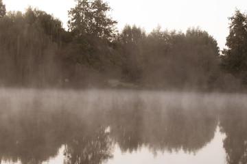 Gespenstisch aussehender See mit Nebelschwaden. Standort: Deutschland, Nordrhein-Westfalen, Pröbstingsee