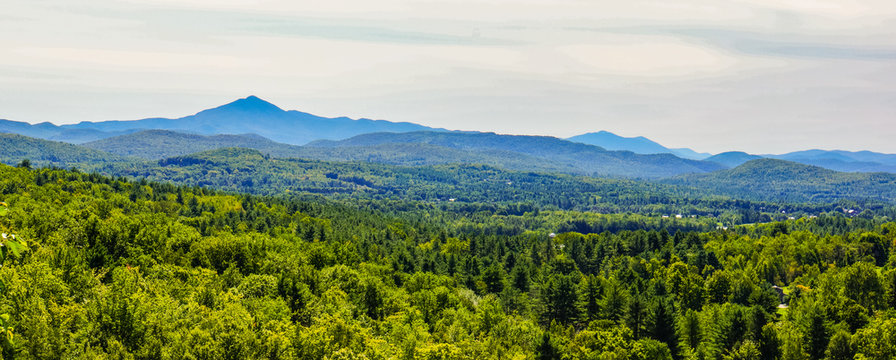 banner of view of Camels Hump Mountain in late summer, Green Mountains of Vermont