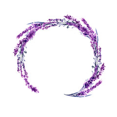 Lavender flower round twig watercolor illustration. Circle lavender frame. Decoration floral design. Love and marriage. Valentines day. Lavender twig wedding symbol. Isolated raster