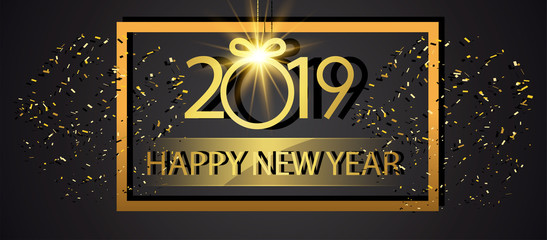 Classy 2019 Happy New Year background. 2019 Happy New Year Background for your Seasonal Flyers and Greetings Card or Christmas themed invit