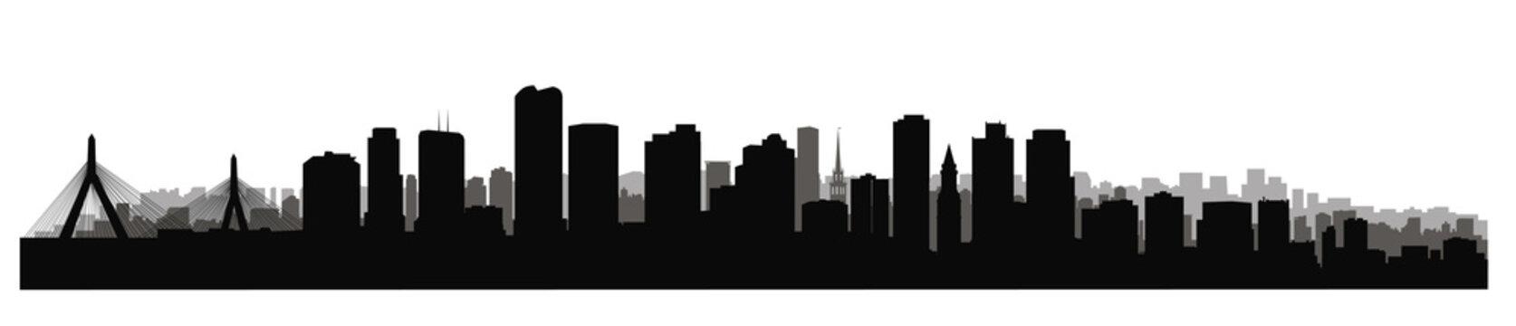 Boston downtown city skyline. USA skyscraper cityscape view