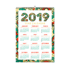 2019 Year Calendar. Xmas or Happy New Year Holiday Design. Isolated Vector Poster with Decorative Doodles Frame. Vertical Template