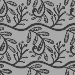Seamless pattern with autumn berries in grey tones. Can be used on bedding/ bedclothing, wrapping paper, wallpaper, cover.