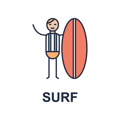 surf musician icon. Element of music style icon for mobile concept and web apps. Colored surf music style icon can be used for web and mobile