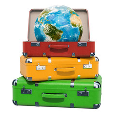 Travel concept, Earth Globe inside suitcase on the heap of luggage. 3D rendering